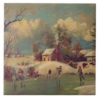 Carreau Tuile vintage de scène d'hiver