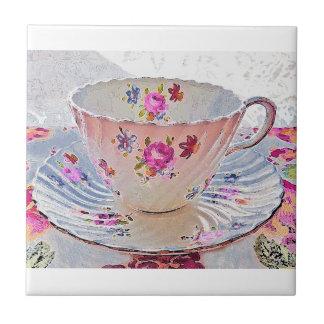 Carreau Tuile vintage de tasse de thé de bouquet floral