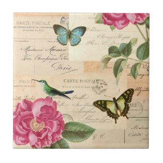 Carreau Tuile vintage florale Girly avec l'oiseau et les