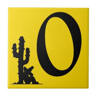 Carreau Tuile zéro du numéro 0 jaune de Sun de cactus de