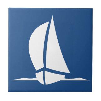 Carreau Tuiles de blanc de bateau de navigation de bleu