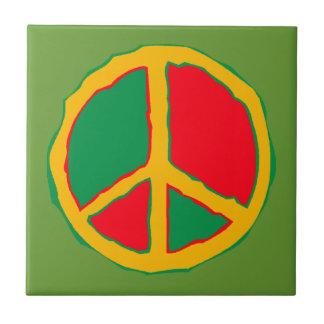 Carreau Tuiles vertes et multi de rétro carré de paix de