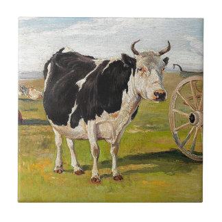 Carreau Une vache noire et blanche par Theodor Philipsen
