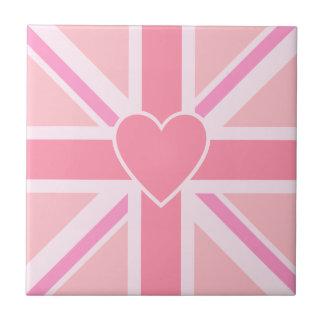 Carreau Union Jack/roses et coeur carrés de drapeau