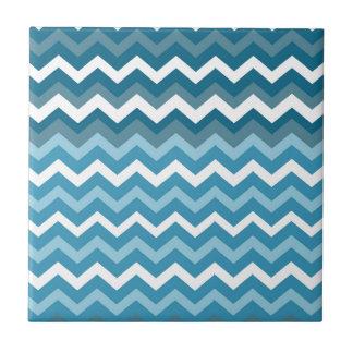 Carreau Vagues des zigzags de bleu de Chevron