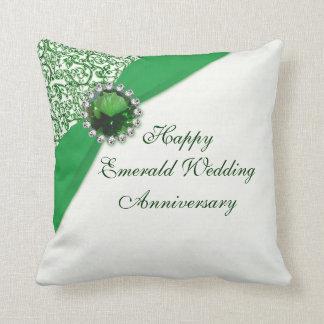Carreau vert d'anniversaire de mariage oreiller