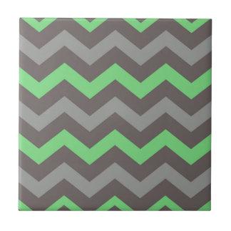 Carreau Vert de menthe avec des zigzags gris