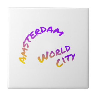 Carreau Ville du monde d'Amsterdam, art coloré des textes