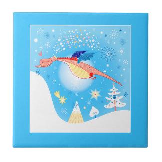 Carreau Vol de dragon d'hiver par des flocons de neige