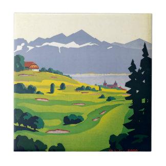 Carreau Voyage vintage de golf de Lausanne Suisse