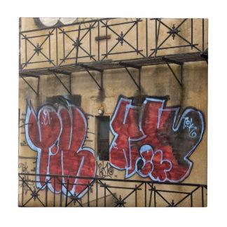 Carreau Vu de la ligne élevée : Graffiti sur un bâtiment