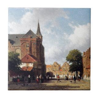 Carreau Vue de ville par Johan Hendrik Weissenbruch