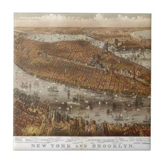 Carreau Vue d'oeil d'oiseau de New York et de Brooklyn en