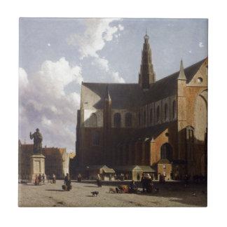Carreau Vue sur le marché de Haarlem Sun par Johan Hendrik