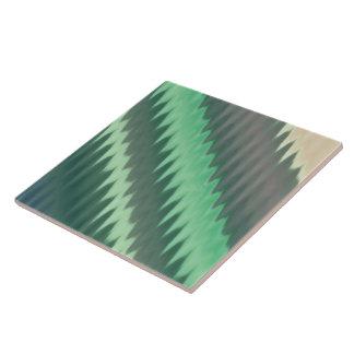 Carreau Zigzag gris vert moderne d'Ikat Chevron de