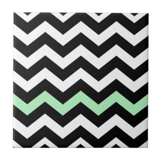 Carreau Zigzag noir et blanc classique avec le vert en bon