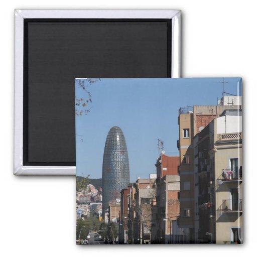 Carrer De Badajoz et Torre Agbar, Barcelone Aimants Pour Réfrigérateur