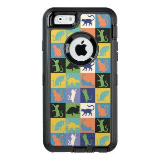 Carrés d'édredon de silhouette de chat dans des coque OtterBox iPhone 6/6s