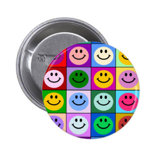 Carrés souriants multicolores badge rond 5 cm