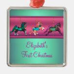 Carrousel rose Teal et Noël du bébé pourpre premie Décoration Pour Sapin De Noël