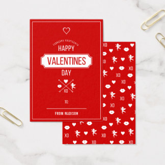 Cartes De Visite Carte 100pk de Valentine de salle de classe de