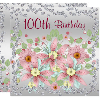 Carte 100th Affichage floral et diamants d'anniversaire