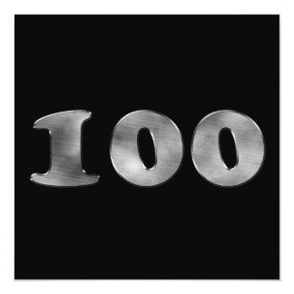 Carte 100th Argent noir | numéro 100 d'anniversaire