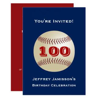 Carte 100th Base-ball d'invitation de fête