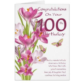 Carte 100th Crocus et papillon roses d'anniversaire