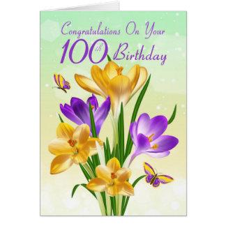 Carte 100th Crocus jaune et pourpre d'anniversaire