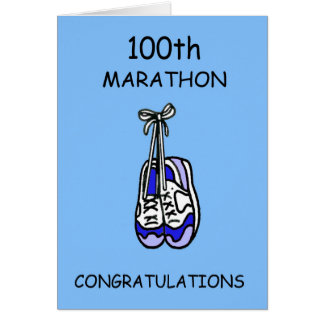 Carte 100th Félicitations de marathon, bleues