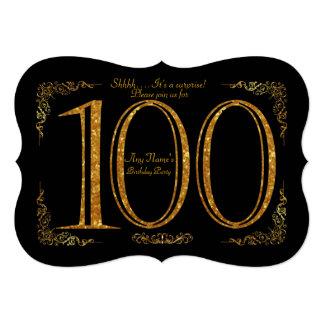 Carte 100th, fête d'anniversaire 100th, Gatsby, noir et
