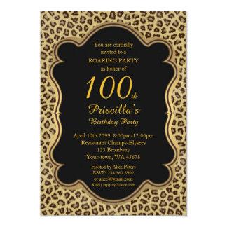 Carte 100th, fête d'anniversaire 100th, guépard, noir et