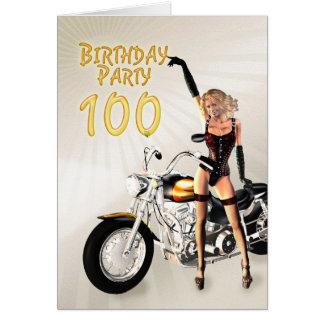 Carte 100th Fête d'anniversaire avec une fille et une
