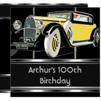Carte 100th La voiture vintage de noir de fête