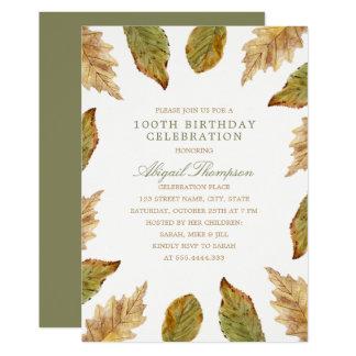 Carte 100th L'automne rustique d'anniversaire laisse le