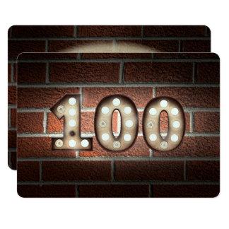 Carte 100th Lumières de Partie-chapiteau d'anniversaire