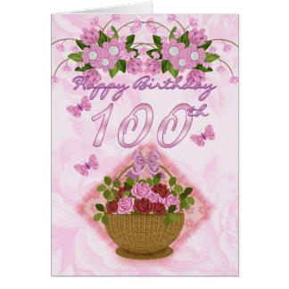 Carte 100th Madame d'anniversaire, roses et fleurs