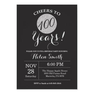 Carte 100th Noir d'invitation d'anniversaire et