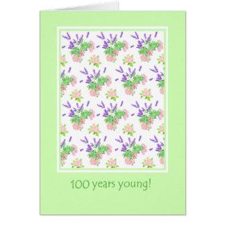 Carte 100th salutation assez florale d'anniversaire