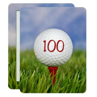 Carte 100th Thème de golf de fête d'anniversaire
