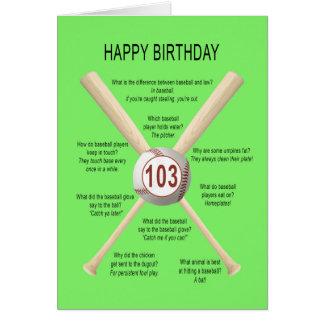 Carte 103rd plaisanteries de base-ball d'anniversaire