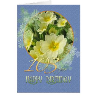Carte 103rd Primevères et bleu d'anniversaire