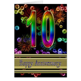 Carte 10ème anniversaire avec des feux d'artifice et des
