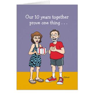 Carte 10ème anniversaire de mariage drôle