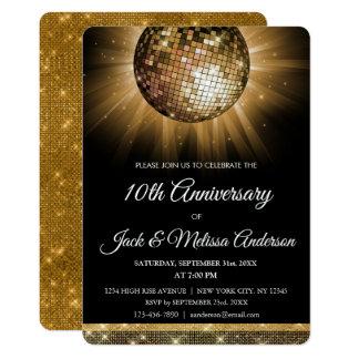 Carte 10ème Boule de disco d'or de fête d'anniversaire