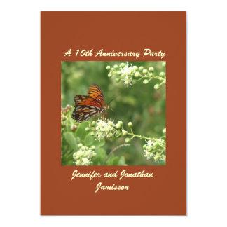 Carte 10ème Papillon d'invitation de fête d'anniversaire