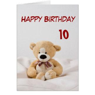 Carte 10ème thème d'ours de nounours de joyeux