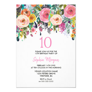 Carte 10èmes fleurs de rose d'invitation de fête