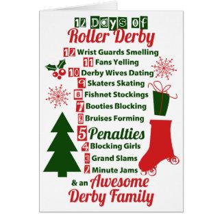 Carte 12 jours de Noël de Derby de rouleau, patinage de